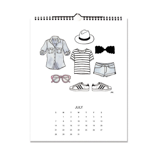 cute illustration wall calendar