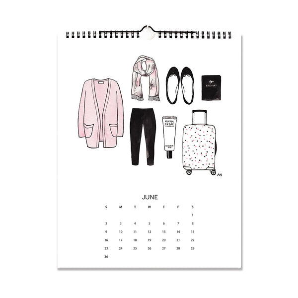 fashion sketch calendar 2019