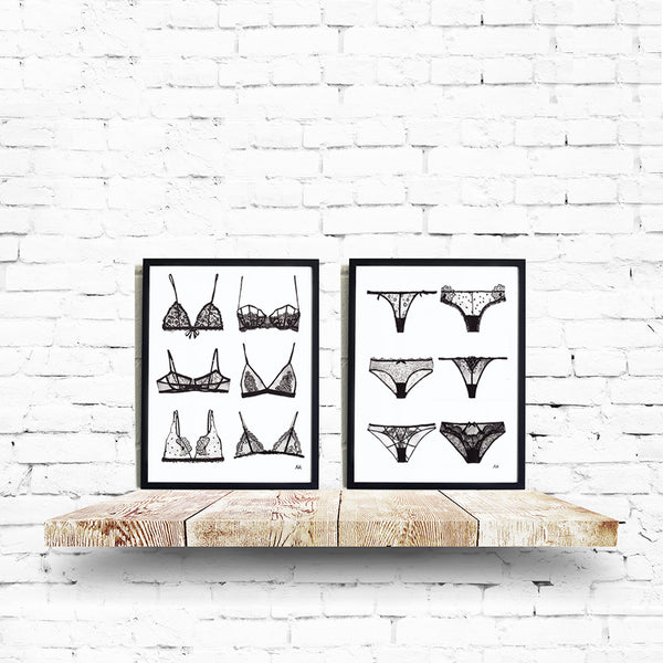 lingerie set wall decor