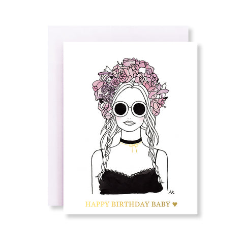 flower crown woman fashion illustration birthday card