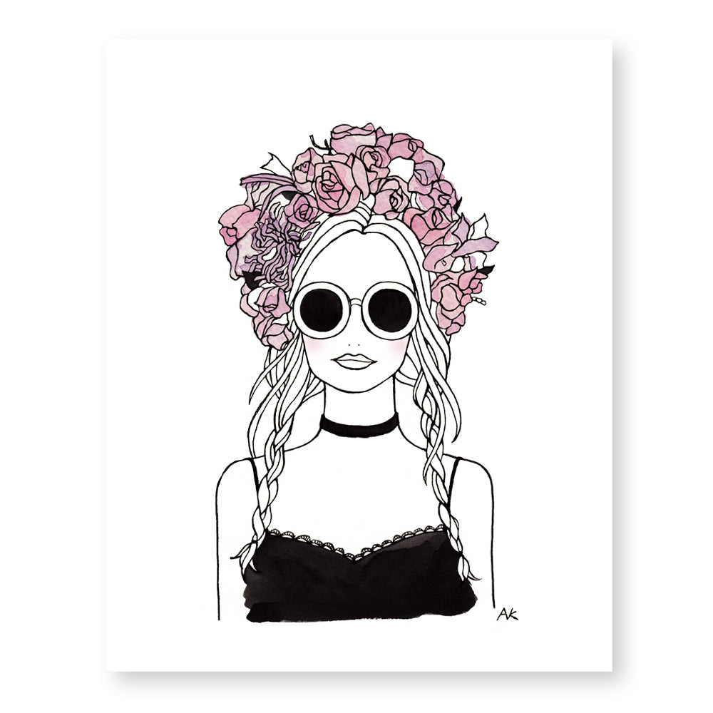 Flower Crown Girl Art Print Akrdesignstudio