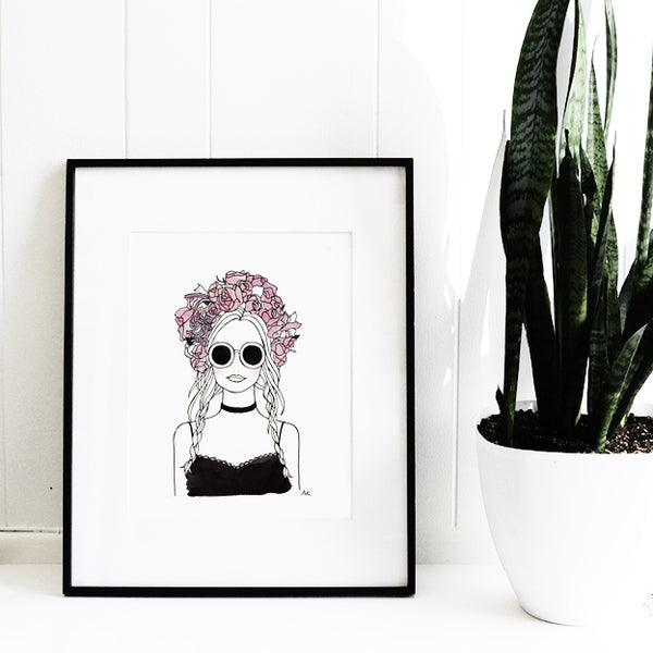 Flower Crown Girl Art Print