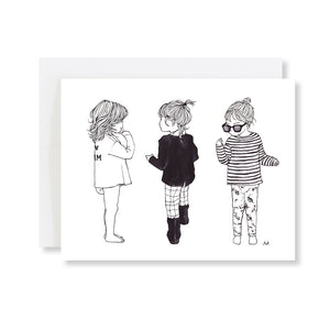 kids girl fashion illustration card