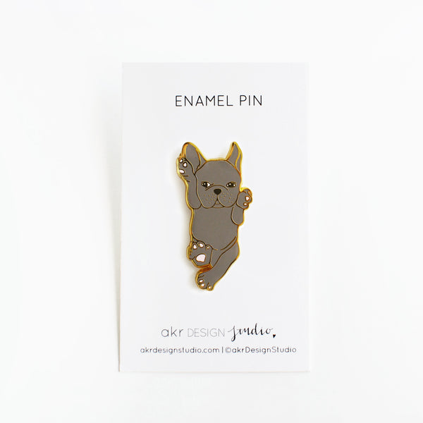 black french bulldog enamel pin