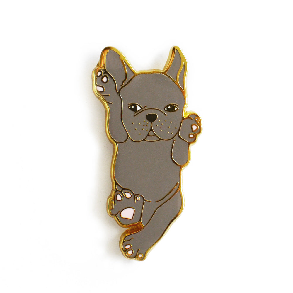 blue french bulldog enamel pin
