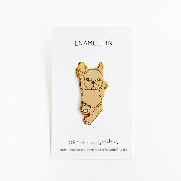 brown french bulldog enamel pin
