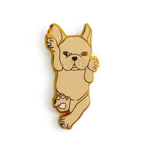 fawn french bulldog hard enamel pin