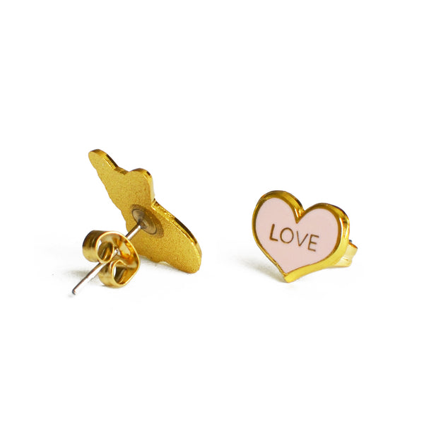 frenchie and heart earrings