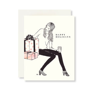Woman w. Gift Boxes Holiday Card