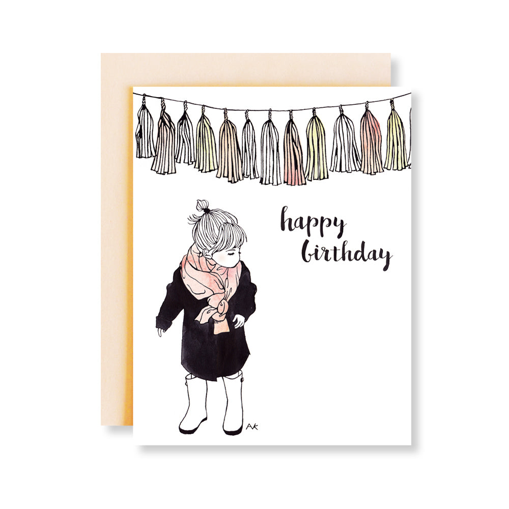 baby girl illustration birthday card