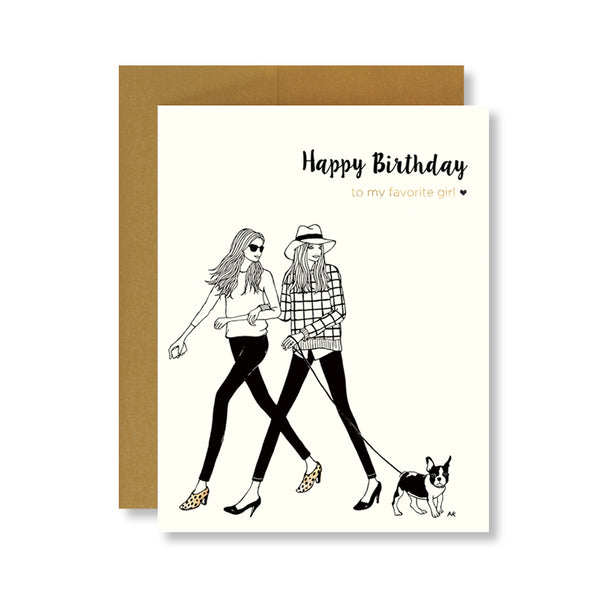 best friend with boston terrior fashion illustration birthday card