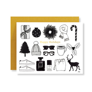 happy holiday fashion illustration card with gold foil stamping