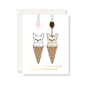 Ice Cream Frenchie Birthday Card w. Gold Foil