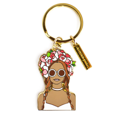 flower crown girl enamel keychain