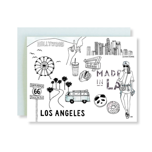 los angeles hollywood santa monica illustration card