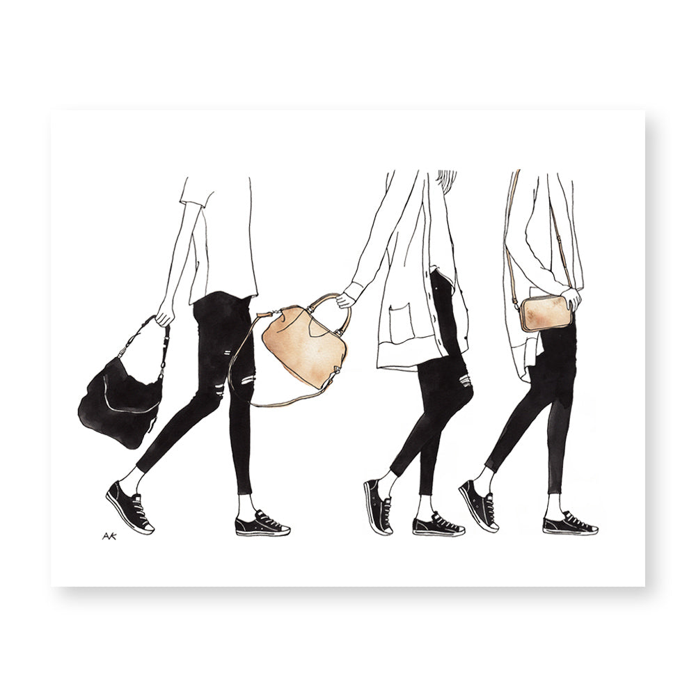 women in leather bag art print