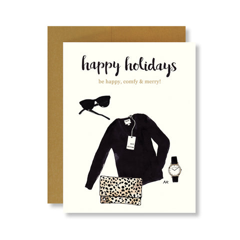 happy holiday card with black sweater and leopard clutch illustration
