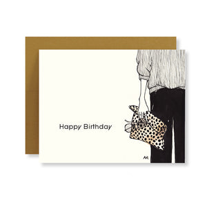 leopard clutch fashion illustration stylish birthday card