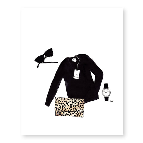 leopard clutch black sweater art print