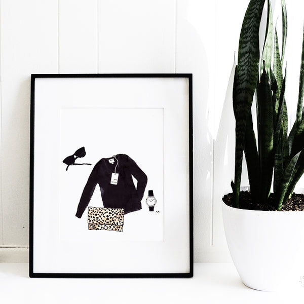 leopard clutch fashion illustration wall art
