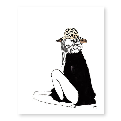 leopard hat woman art print