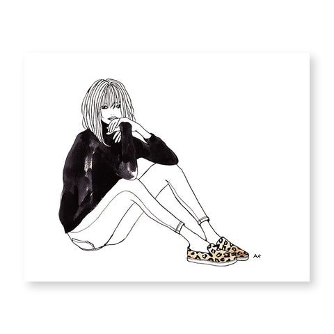 fashion woman leopard slip on art print