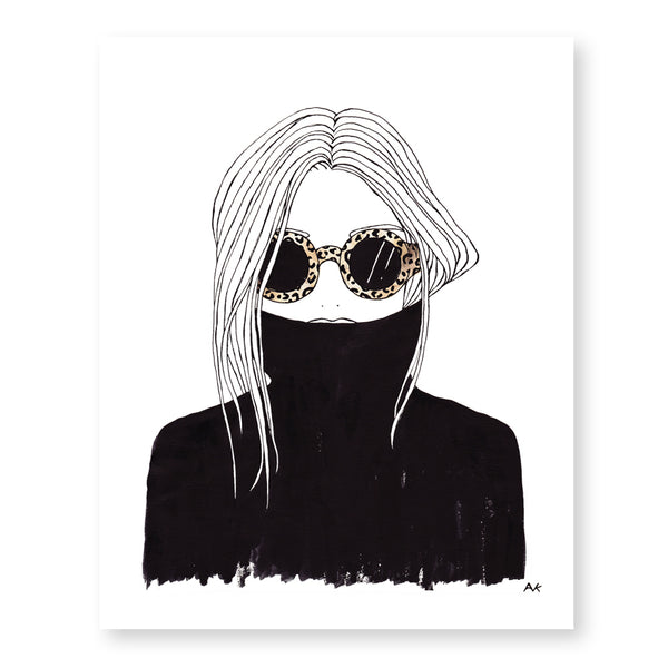 leopard shade black turtleneck woman art print