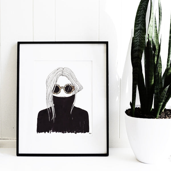 black turtleneck fashion illustration wall decor