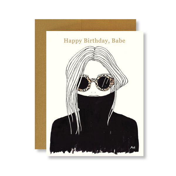 leopard sunglasses black turtleneck fashion illustration birthday card