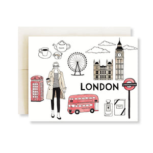 london fashion illustration card red bus red phone box