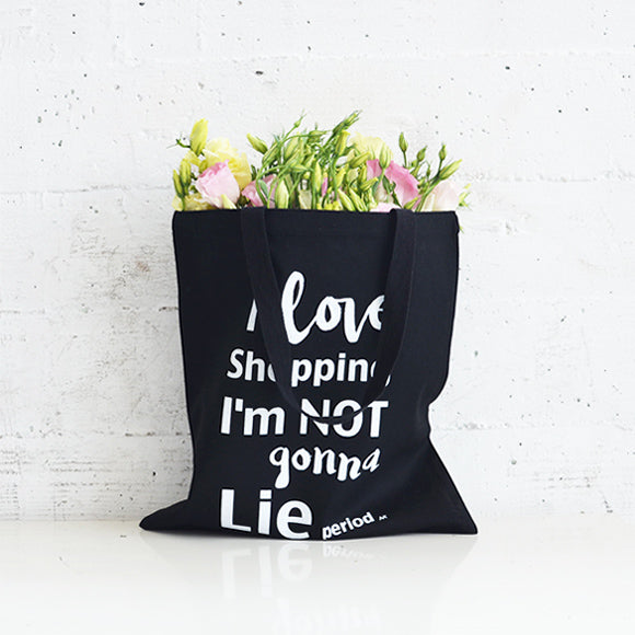 i love shopping flat tote black