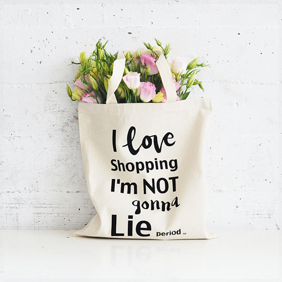I love shopping flat tote bag