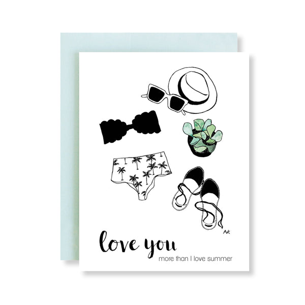 love you more than summer bikini fashion illustration card