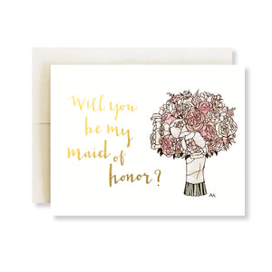 maid of honor flower bouquet gold foil card