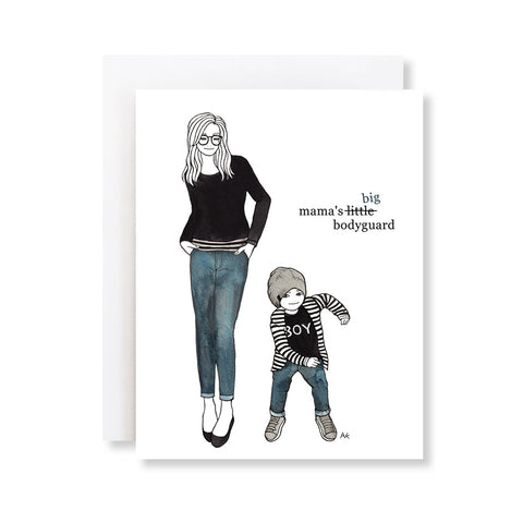 mom and boy fashion illustration mothers day card