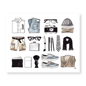 mens fashion item art print