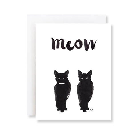 black cat meow card