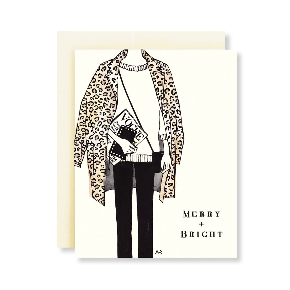 leopard jacket fashion illustration christmas card
