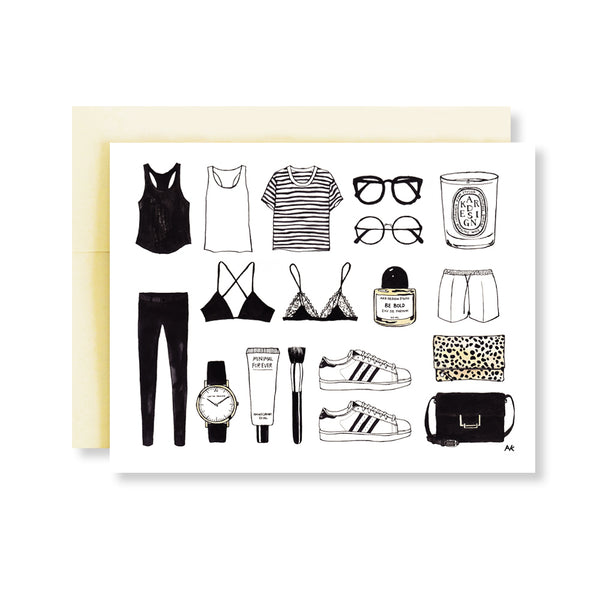 minimalist items of  fashion illustration card