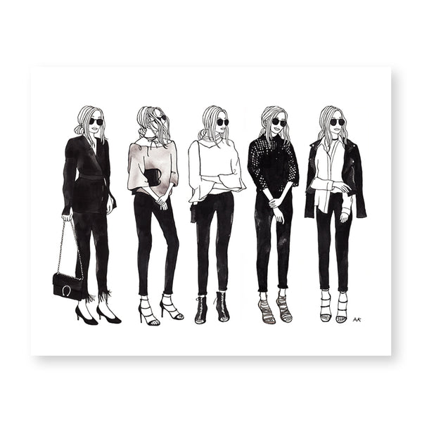 monochrome style girl fashion wall art
