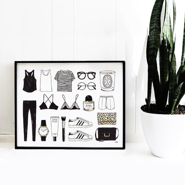fashion items illustration wall decor