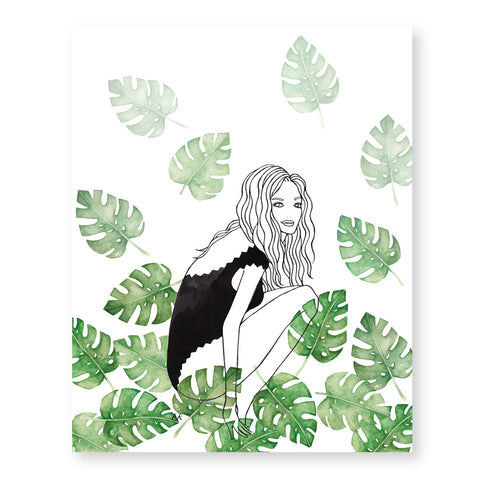 bikini girl with monstera leaf art print