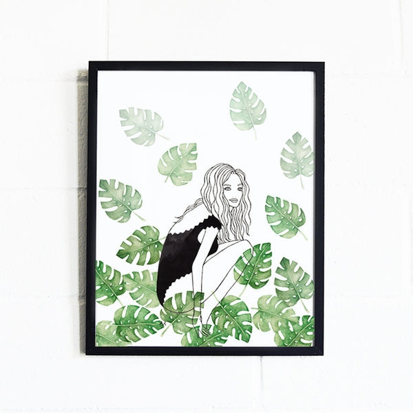 monstera leaf watercolor fashion illustration print