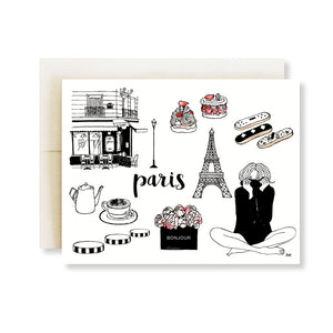 paris pink flower, eiffel tower fashion illustration card