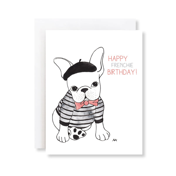 parisian french bulldog birthday card