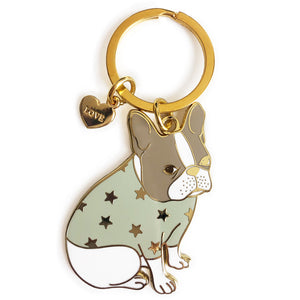 Pied French Bulldog Keychain