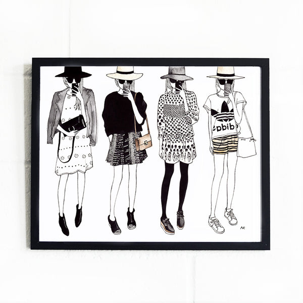 chic cute fashion illustration wall decor