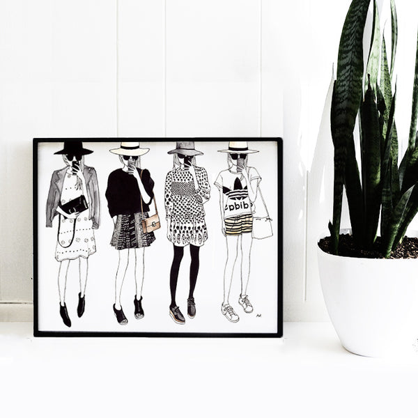 fun fashion girls art print