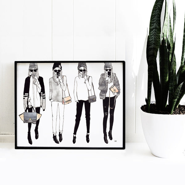 fun fashion illustration woman wall print