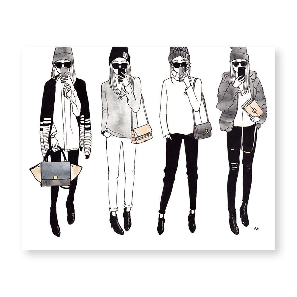 selfie girls fashion illustration art print